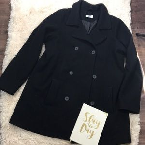 Old Navy Black Button Down Long Peacoat